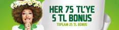 Her yerde tm harcamalarda her 75 TL alverinize 5 TL bonus, toplam 25 TL bonus!