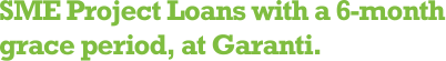 SME Project Loan with a 6-month grace period, at Garanti.
