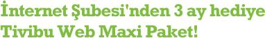 İnternet Şubesi'nden hediye 3 ay Tivibu Web Maxi Paket!