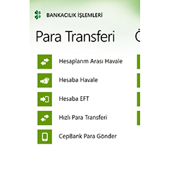Garanti Cep Windows Phone Uygulaması