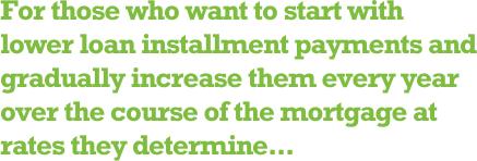 Kredi taksit ödemelerine düşük tutarlardan başlayıp, her yıl belli oranlarda artırmak isteyenlere...